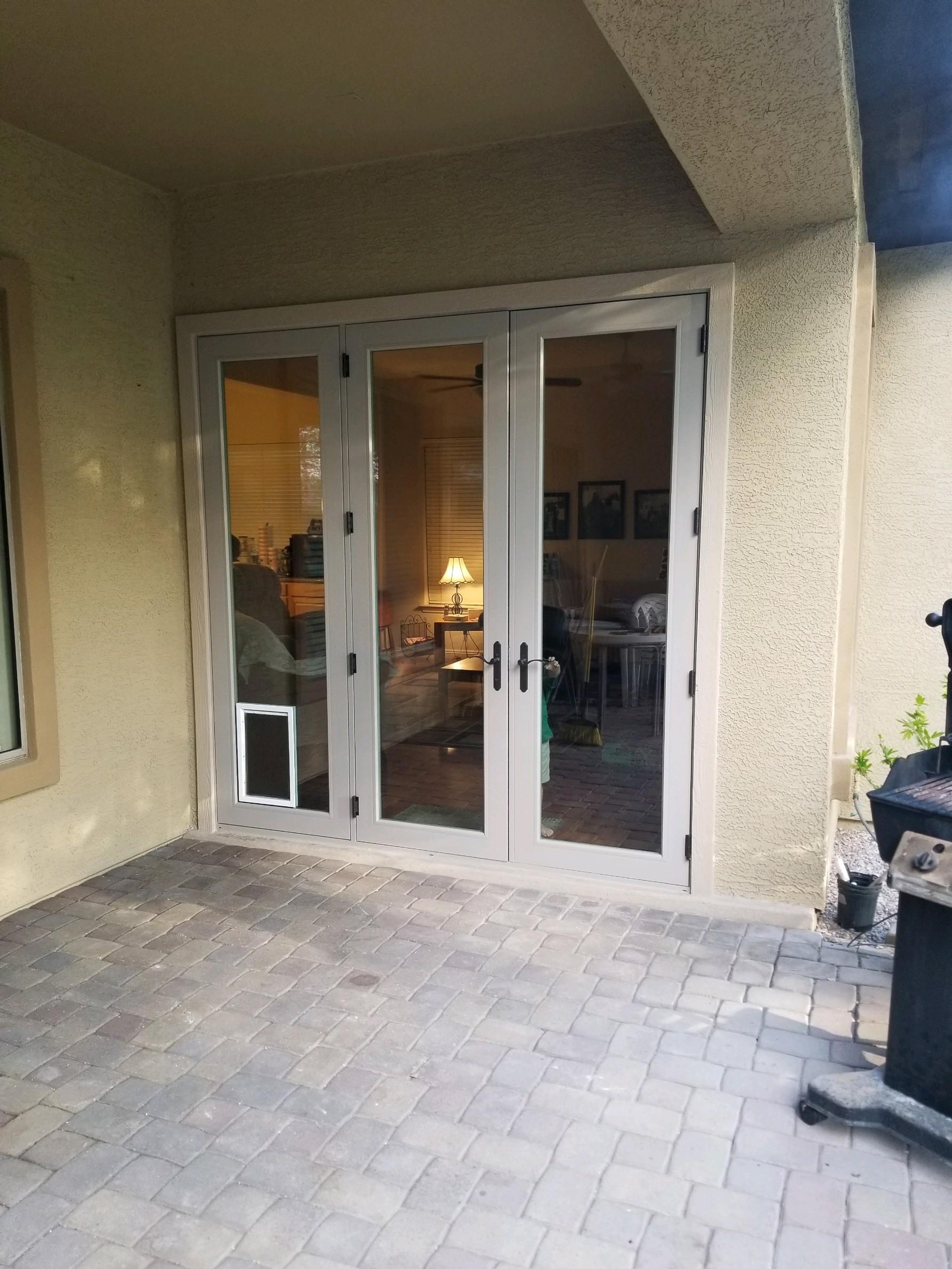 French Doors w/Dog Door