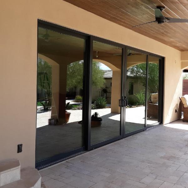 Sliding Door, Four Panel, Black